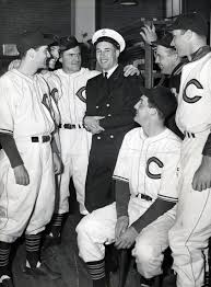 US Naval Chief Petty Officer Bob Feller with Cleveland Indians Teammates
