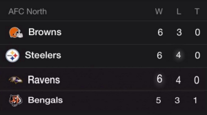 cle afc north standings
