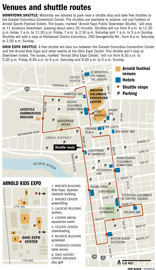 2015 Arnold Sports Festival schedule  map   The Columbus Dispatch